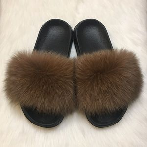 Shoes - Fox Fur Slides